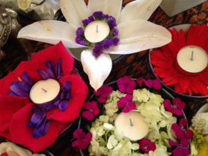 red white flowers and candles